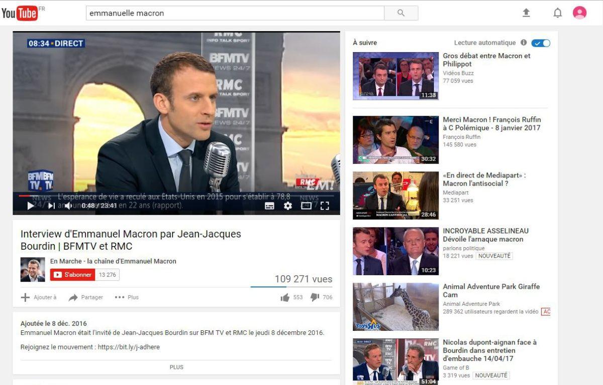 L'algorithme de YouTube favoriserait-il certains candidats à la présidentielle ? – Capture YouTube