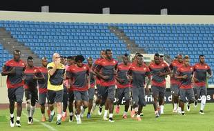 L'équipe du Cameroun à l'entraînement, le 19 janvier 2015, à Malabo.