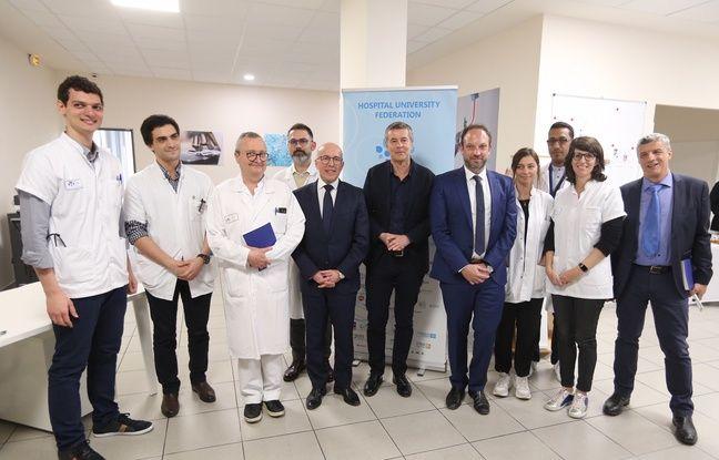 Les professeurs Charles-Hugo Marquette (3e à g.) et Paul Hofman (en noir au centre) dirigent les recherches d'application du test sanguin de dépistage du cancer du poumon