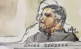 Croquis de Nacer Bendrer, le 10 janvier 2019, lors de son procès.