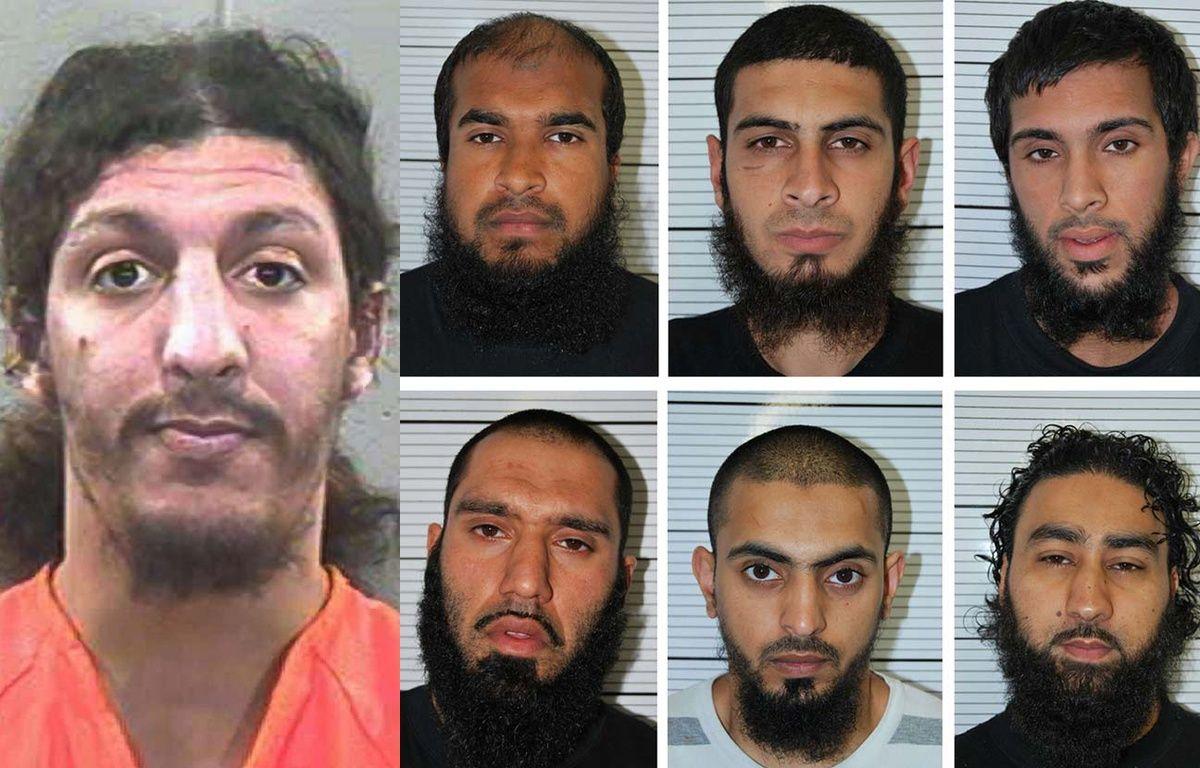 Montage photo: Ag. Richard Reid, à droite: les six complices condamnés en Angleterre pour leur projet d'attentat à Dewsbury. – PLYMOUTH COUNTY JAIL/AP/SIPA  et West Midlands Police/AP/SIPA