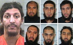 Montage photo: Ag. Richard Reid, à droite: les six complices condamnés en Angleterre pour leur projet d'attentat à Dewsbury.