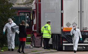 Le camion où ont été retrouvés les cadavres, fin octobre.