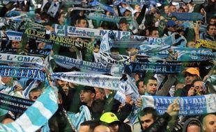 Les supporters marseillais lors d'un match de L1 au Stade Vélodrome contre le PSG le 20 novembre 2009.