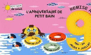 Visuel officiel de la soirée d'anniversaire du bar flottant le Petit Bain