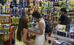 Une mère achète des fournitures scolaires avec sa fille dans un supermarché, le 18 août 2015.