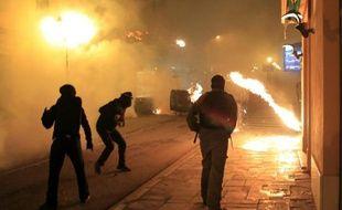 Des affrontements entre manifestants et policiers à Corte, en Corse, le 16 février 2016