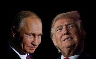 Photomontage de Donald Trump et Vladimir Poutine.