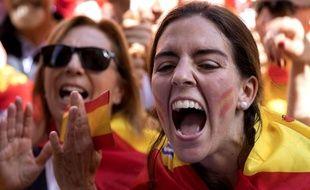 Des manifestants anti-indépendance à Barcelone, le 8 octobre 2017.