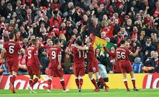 L'équipe de Liverpool dans son stade d'Anfield Road, le 24 avril 2018.