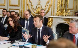 Emmanuel Macron lors du lancement de l'appel de Christchurch à l'Elysée le 15 mai 2019.