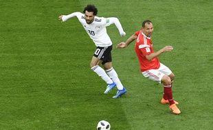 Mohamed Salah face à la Russie, en Coupe du monde, le 19 juin.