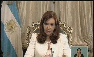 La présidente argentine Cristina Kirchner, lors d'une allocution télévisée, le 16 juin 2014 à Buenos Aires
