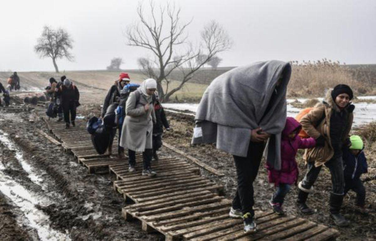 Des migrants traversent un champ boueux après avoir passé la frontière serbo-macédonienne près du village serbe de Miratovac, le 27 janvier 2016 – ARMEND NIMANI AFP