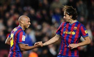 Thierry Henry et Zlatan Ibrahimovic sous le maillot de Barcelone, le 7 novembre 2009.