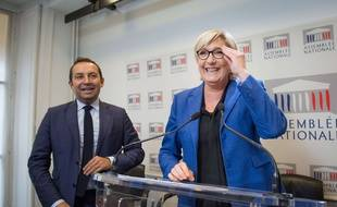 Marine Le Pen en conférence de presse le 25 septembre 2017 à l'Assemblée nationale.