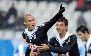 Yoan Gouffran (à gauche) a marqué le but de l'égalisation, hier, grâce à une passe délivrée par le latéral gauche Benoît Trémoulinas.