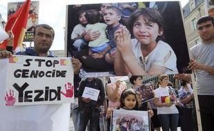 Une manifestation de soutien aux Yazidis, minorité kurdophone non musulmane persécutée par l'Etat islamique (EI), le 20 août 2014 à Angers