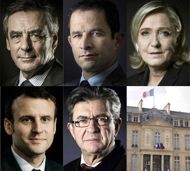 Les cinq candidats invités le 20 mars à débattre sur TF1 et LCI : François Fillon, Benoît Hamon, Marine Le Pen, Emmanuel Macron et Jean-Luc Mélenchon.