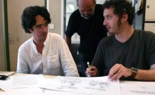 Les dessinateurs de «Fluide Glacial», Lindingre et Eric Deup en 2007 au siège de l'«Est Republicain» à Houdemont.