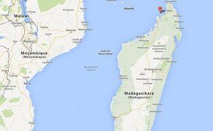Google map de l'île de Nosy Be, à Madagascar.
