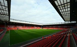 Vue globale du stade d'Anfield, à Liverpool, prise le 20 octobre 2012.