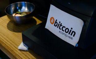 Un café acceptant la monnaie numérique bitcoin à Dublin, le 23 février 2016