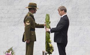 Le premier ministre néozélandais Bill English durant une cérémonie d'hommage le 22 février 2017