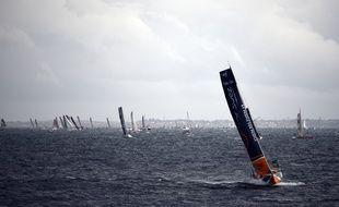 Le bateau de Sébastien Rogues ici lors du départ de la 10e édition de la Route du Rhum en 2014.