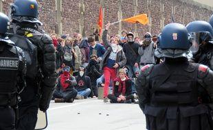 Rassemblement d'étudiants et de salariés contre la loi   Travail, ici le 5 avril 2016 à Rennes.