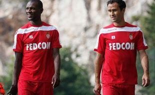 Eric Abidal et Ricardo Carvalho lors d'un entraînement de l'AS Monaco le 23 juillet 2013.
