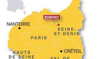 Carte de localisation de Bobigny, en Seine-Saint-Denis, où un vigile retrouvé mort dans un canal, le 31 mars 2010.