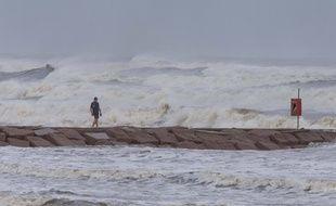 Galveston, au Texas, à l'approche de l'ouragan Laura, le 26 août 2020.