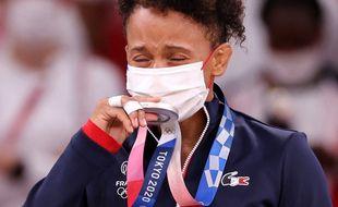 Amandine Buchard a remporté la médaille d'argent  aux JO de Tokyo en -52 kg, le 25 juillet 2021.