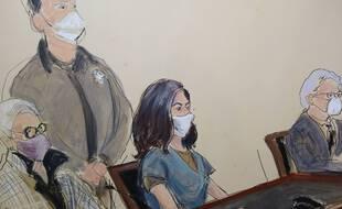 Ghislaine Maxwell (assise au centre) lors d'une audition devant la cour fédérale, à New York le 23 avril 2021 (illustration).