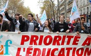 Manifestation de membres de l'Unef, le 11 octobre 2011 àParis.