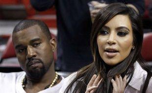 Kim Kardashian et Kanye West avant un match de basket à Miami, le 6 décembre 2012.