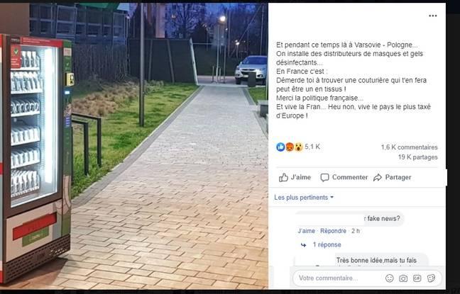 Le post Facebook viral sur le distributeur de masques en Pologne.