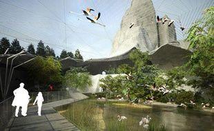 Vue d'artiste de la future volière du zoo de Vincennes dévoilée le 24 février 2010.
