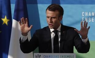 """Emmanuel Macron prononce un discours sur la transition écologique en pleine crise des """"gilets jaunes"""", le 27 novembre 2018 à l'Elysée."""