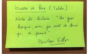 Capture d'écran du concours de fiches de lecture «comme Penelope Fillon» lancé sur Facebook.