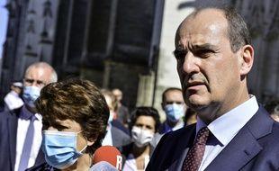 Roselyne Bachelot aux côtés du Premier ministre Jean Castex, le samedi 18 juillet à Nantes.