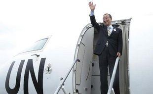 Le secrétaire général des Nations unies Ban Ki-moon à Monrovia le 19 décembre 2014