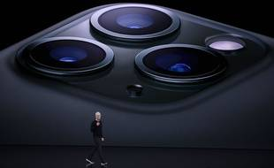 (190911) -- SAN FRANCISCO, Sept. 11, 2019 (Xinhua) -- Apple CEO Tim Cook speaks during a product launch event at Apple's headquarters in California, the United States, Sept. 10, 2019. Apple Inc. announced a new line of iPhones, including iPhone 11 and Pro, iPads,  Apple Watch 5 Series and other products and services at its major fall event in Northern California Tuesday.
