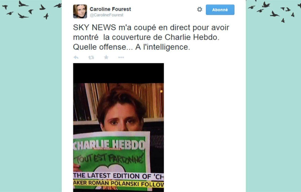 Caroline Fourest a tweeté ce message après avoir été coupée par Sky News pour avoir montré la une de «Charlie Hebdo» en direct. – Capture d'écran 20 Minutes / Caroline Fourest / Twitter