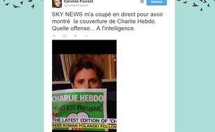 Caroline Fourest a tweeté ce message après avoir été coupée par Sky News pour avoir montré la une de «Charlie Hebdo» en direct.