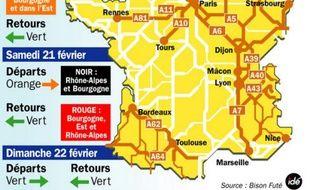 Prévisions de Bison Futé pour le chassé-croisé du week-end du vendredi 20 au dimanche 22 février 2009.