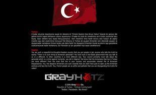 Message affiché par des pirates informatiques sur le site de la député (UMP) Valérie Boyer, le 26 décembre 2011.