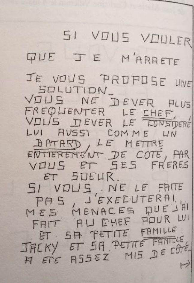 La lettre du «corbeau» du 27 avril 1983 reproduite dans le livre d'Etienne Sesmat «Les deux affaires Grégory».