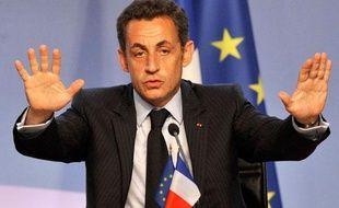 Nicolas Sarkozy, le 13 juillet 2008 au Grand Palais pour lancer le projet d'Union pour la Méditerranée.